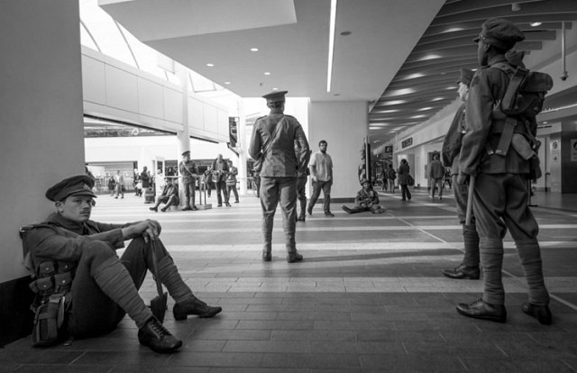 Battle of the Somme Soldier sits of floor